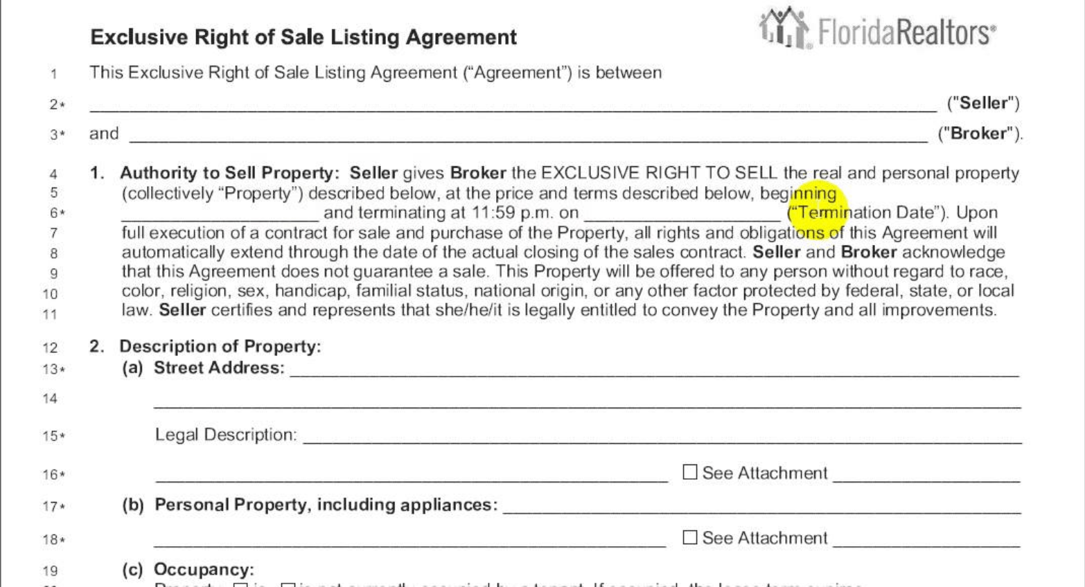 exclusive right to sell listing agreement