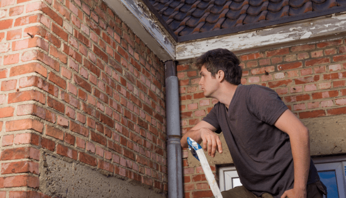 A brick wall inspected during a structural home inspection.