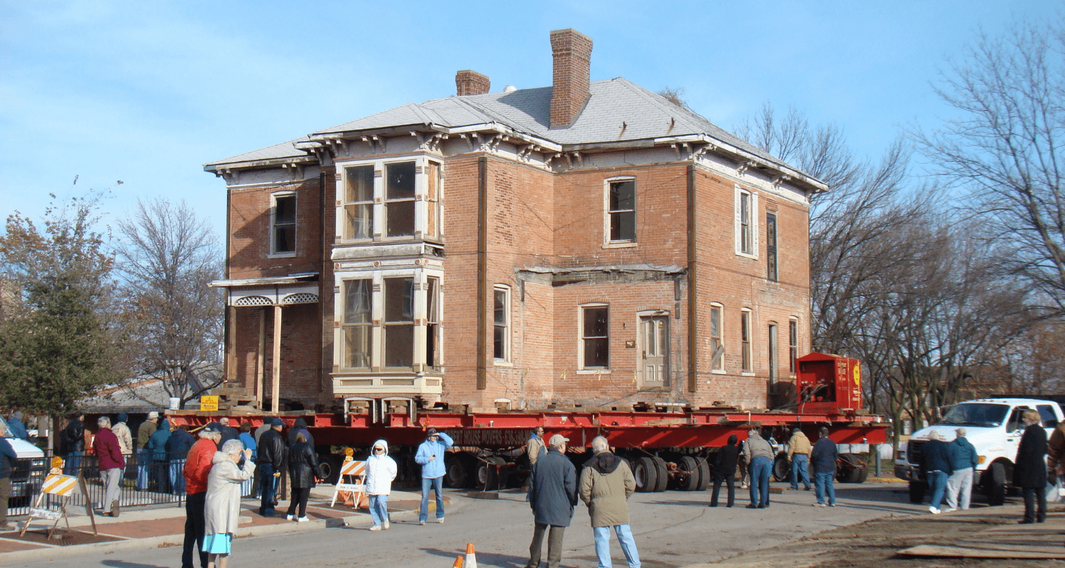 A house that is being moved.