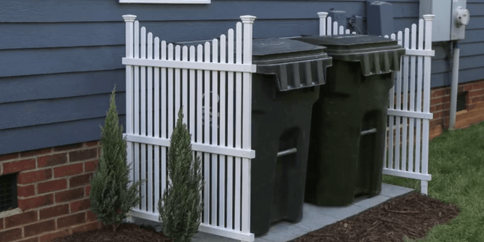 how to hide garbage cans outside- enclosure
