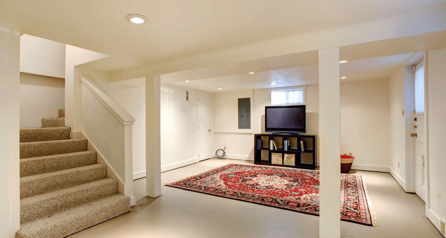 A finished basement with added value.