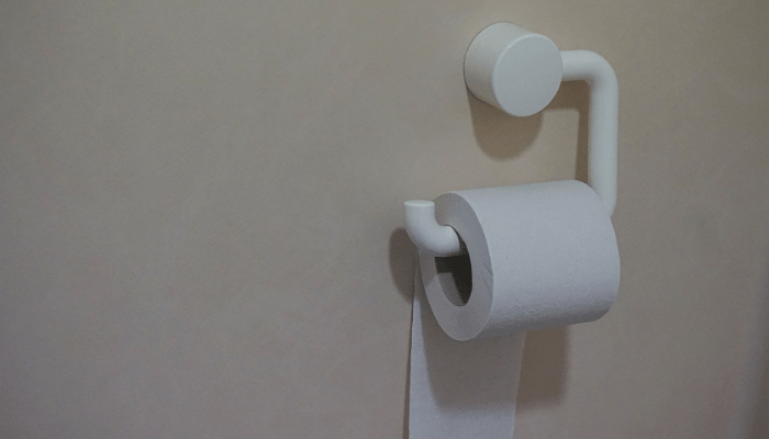 Toilet paper in a water closet.