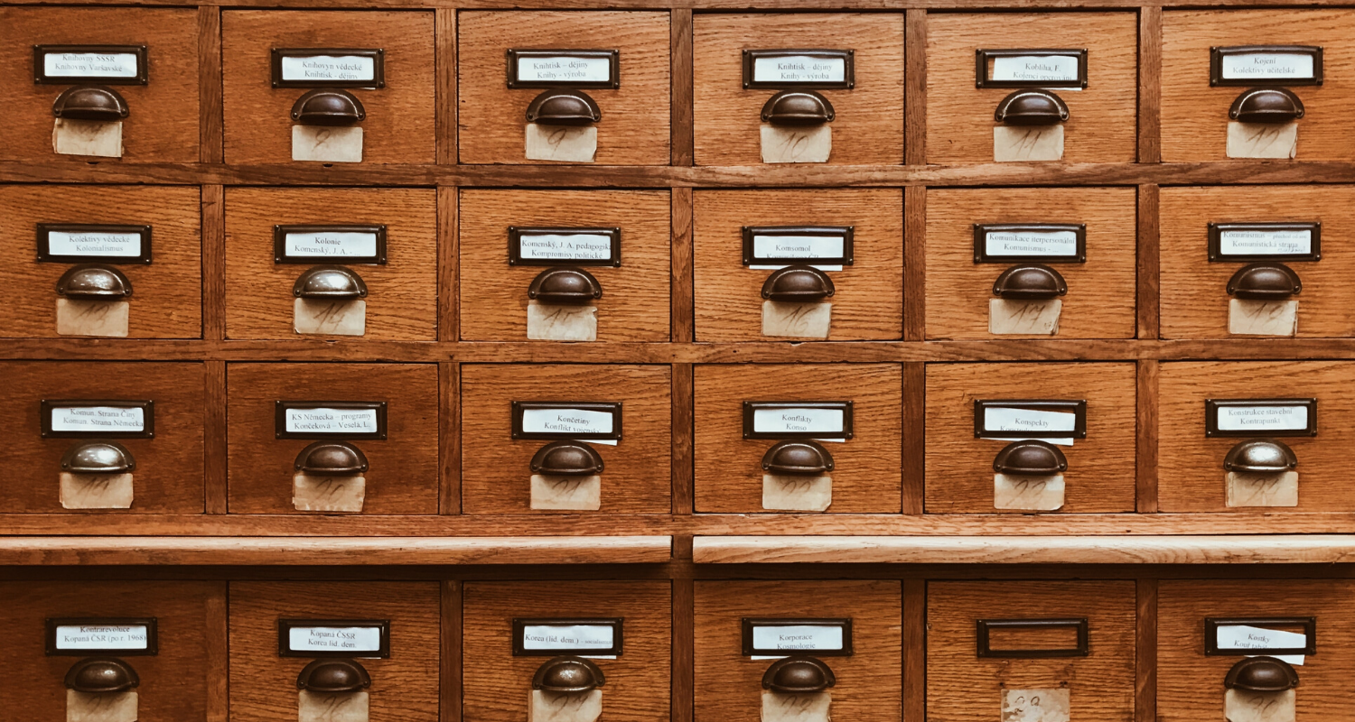 A file cabinet with property records.