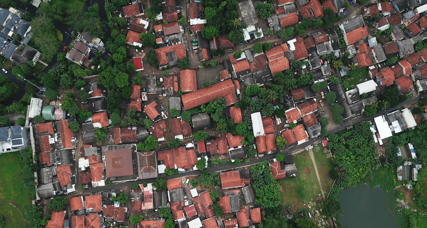 An aerial view of houses you can find on the multiple listing service.