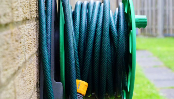 A garden hose which could be an outdoor eyesore. q