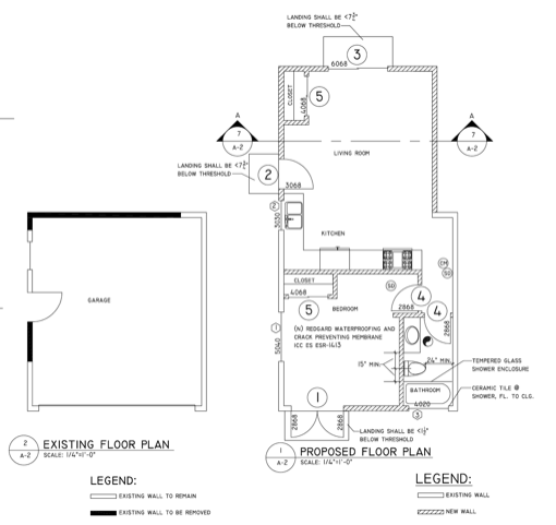 The floor plans of a potential mother-in-law suite addition.