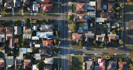 An aerial view of houses during a recession.
