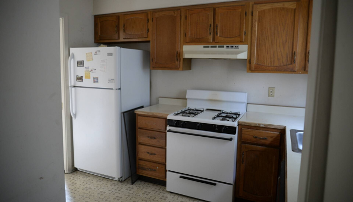 A kitchen before a remodel.