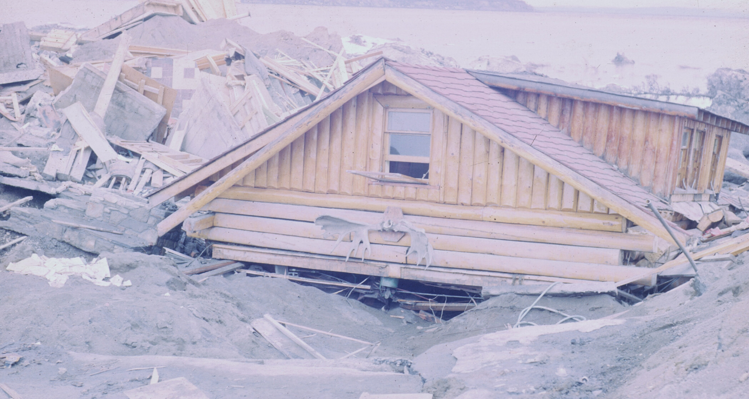 A destroyed house without homeowners insurance.