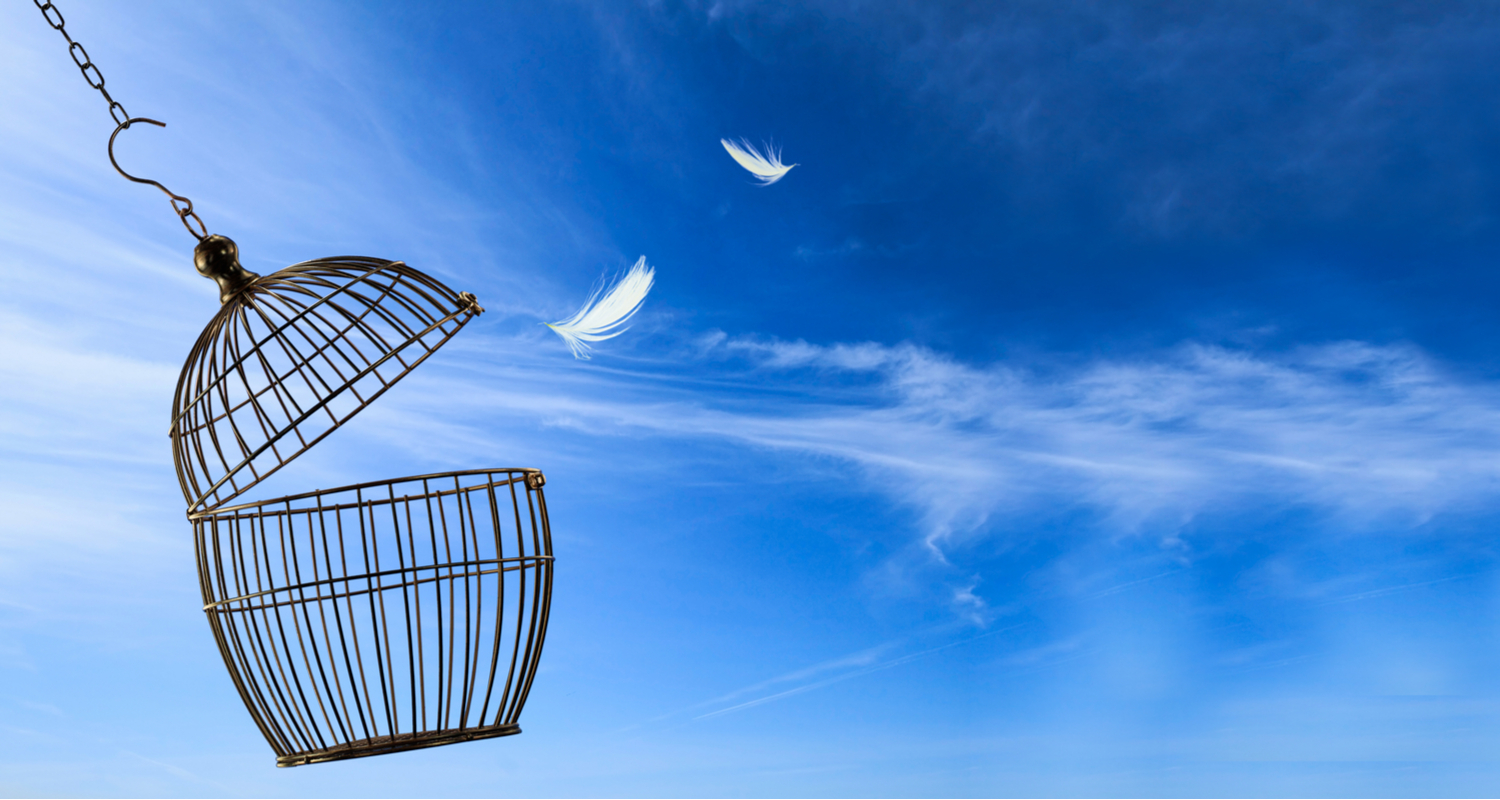 an open cage in a blue sky symbolizes how first-time buyers can escape from paying PMI