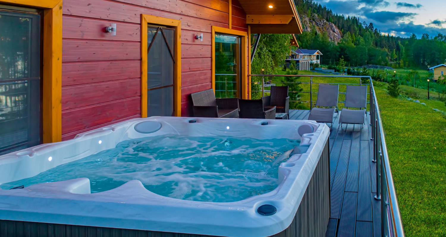 A hot tub that will be sold with a house.