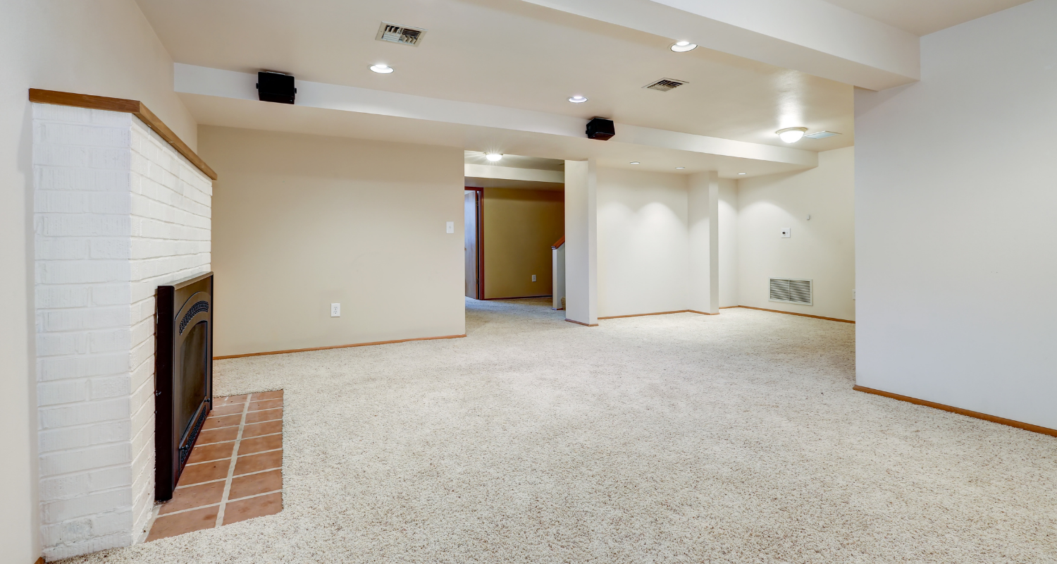 A basement that has been remodeled.