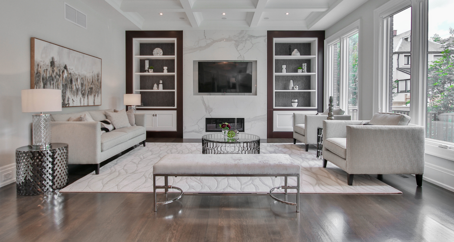 A living room of a home with furniture from