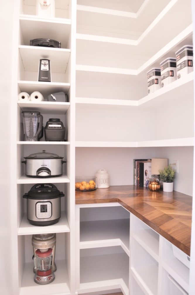 A pantry that was added to a home.