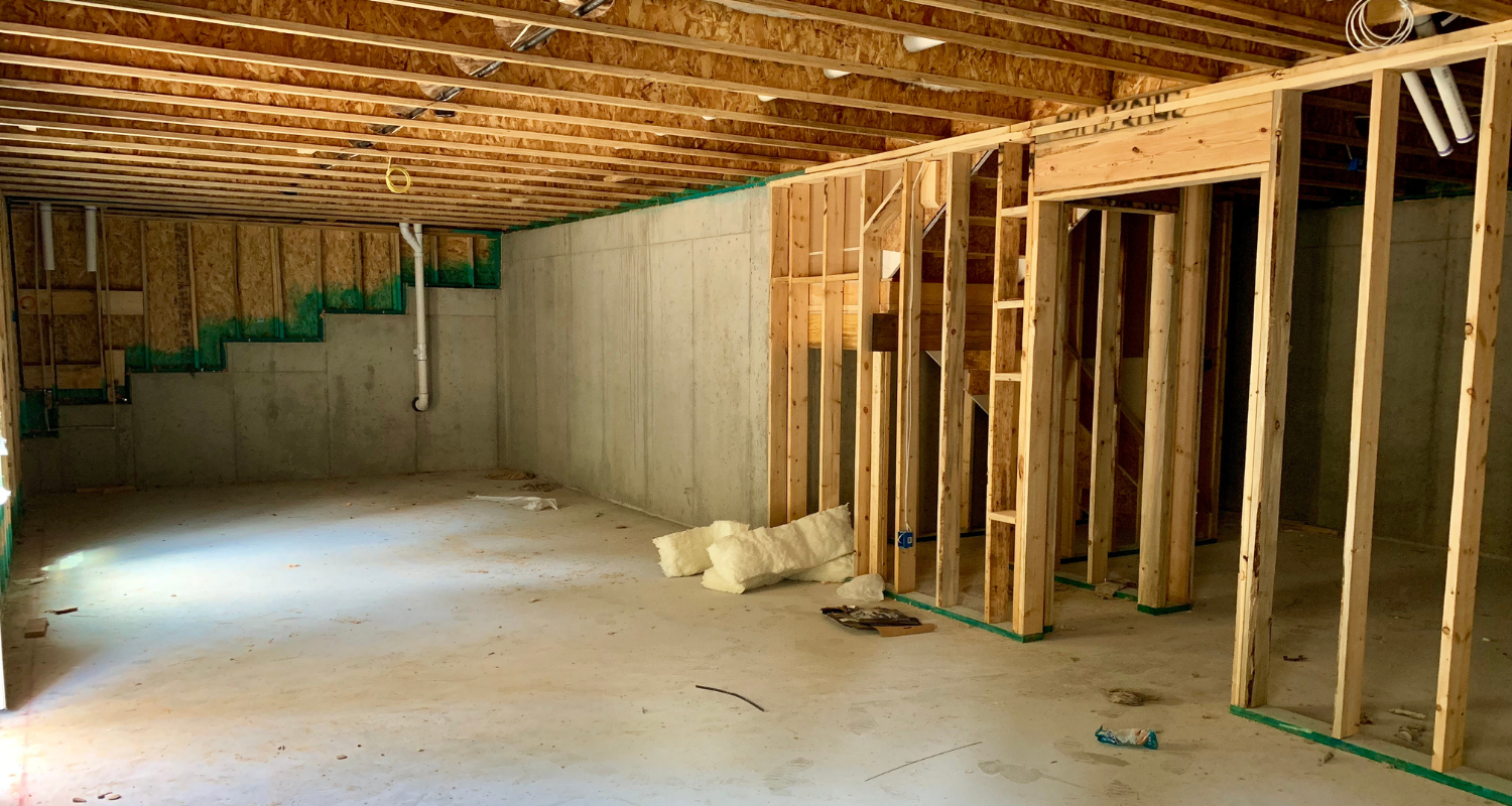 An unfinished basement that has been appraised.