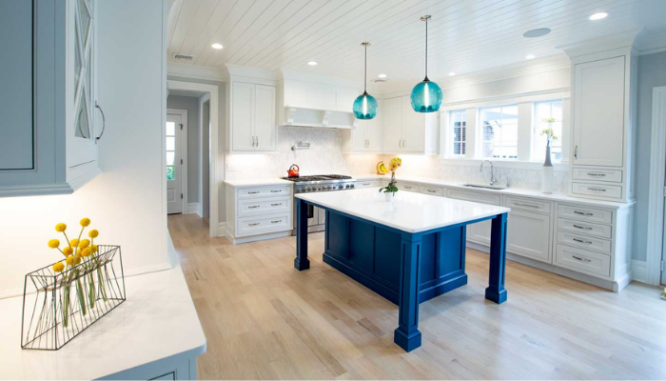 A kitchen island with built in seating