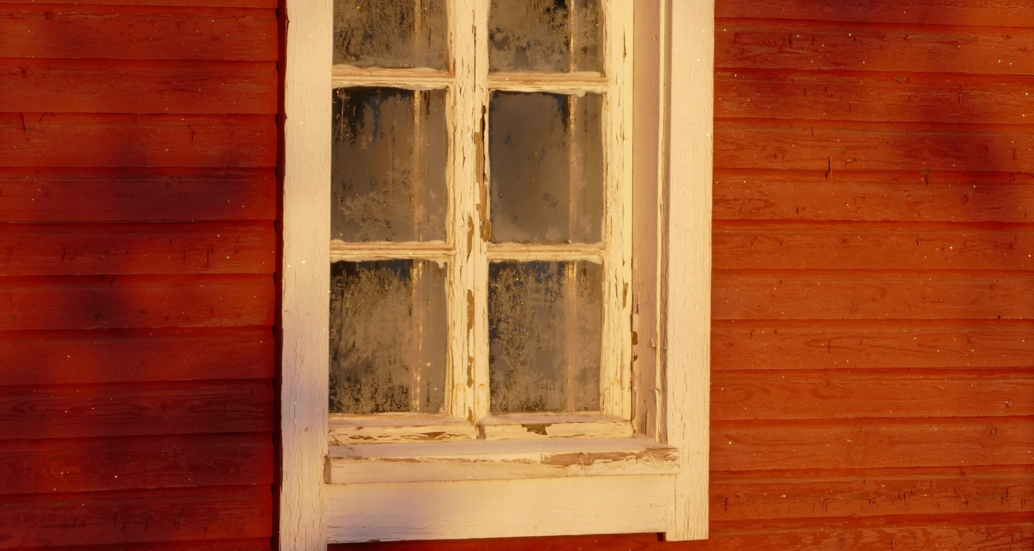 A window frame with gaps that need to be filled in.