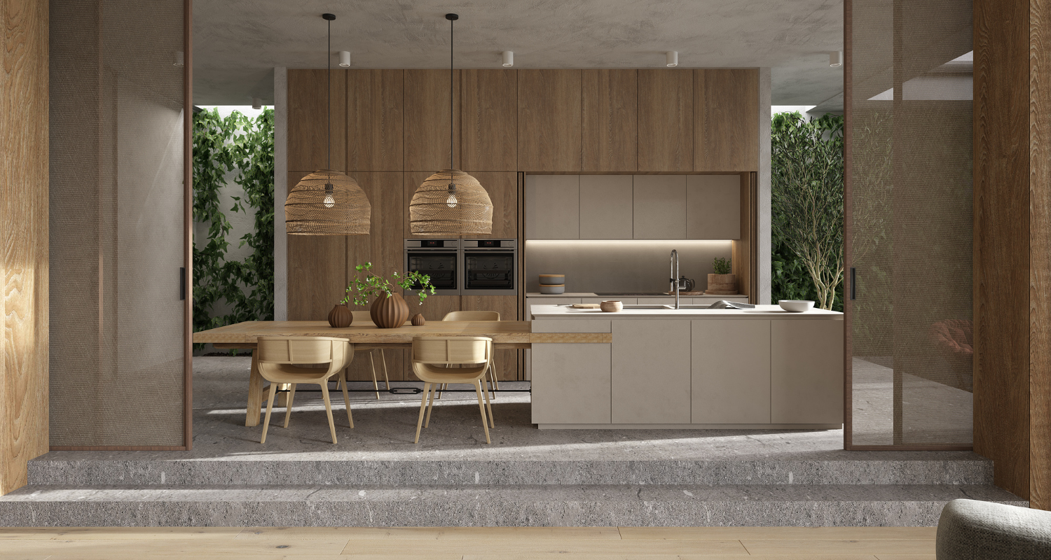 A kitchen island with built in seating.